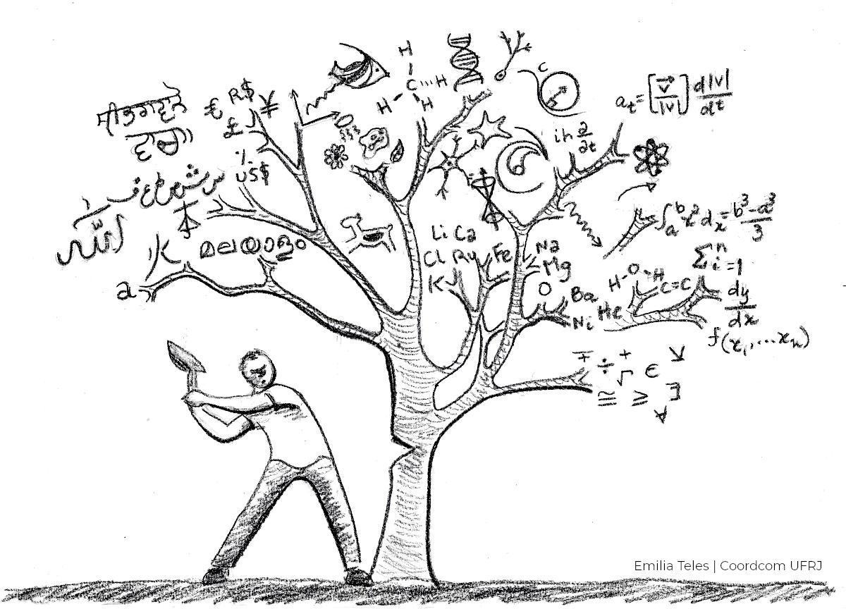 Um homem com um machado corta uma árvore. No lugar das folhas da planta estão fórmulas e símbolos que representam disciplinas escolares.